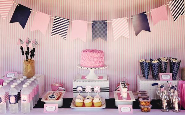 Karas Party Ideas Preppy Girly Nautical 1st Birthday