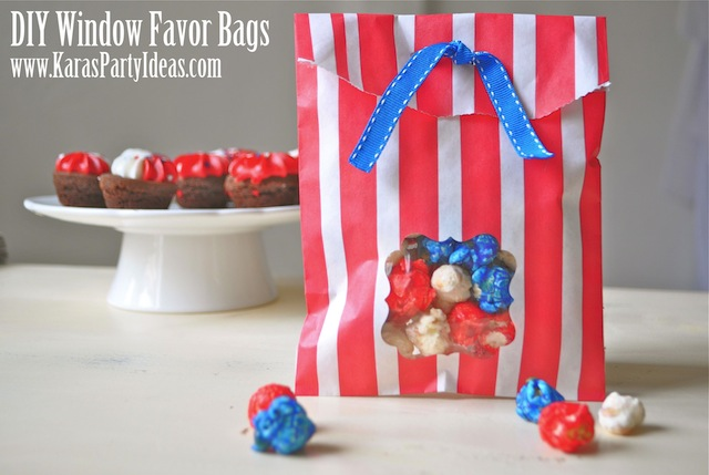 paper bag party 4th of july idea www.karaspartyideas.com popcorn